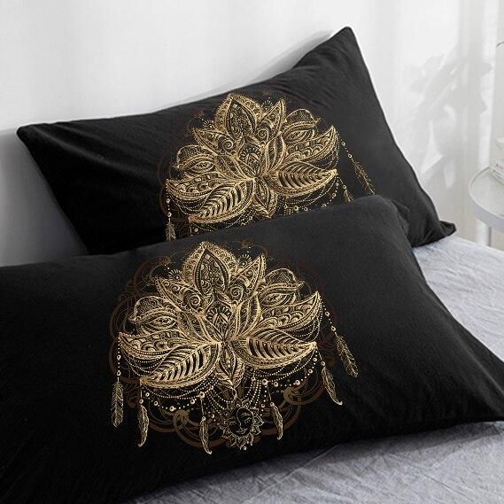 Custom 3D HD Pillow Case Pillowcase 50x70 50x75 50x80 70x70 Decorative Pillow Cover lotus on Black Bedding