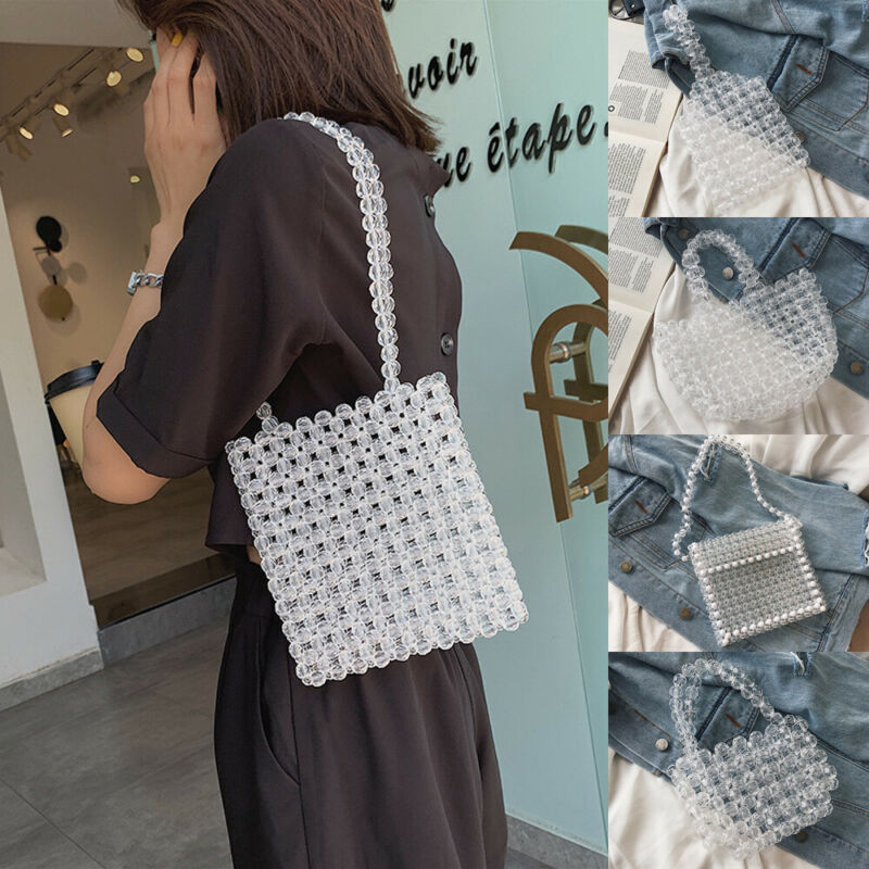 2019 Transparent Bag Round Bag Small Handbag Crystal Pearl Bag Women Evening Bag Clutch Wedding Party Totes Beaded Crystal Bag