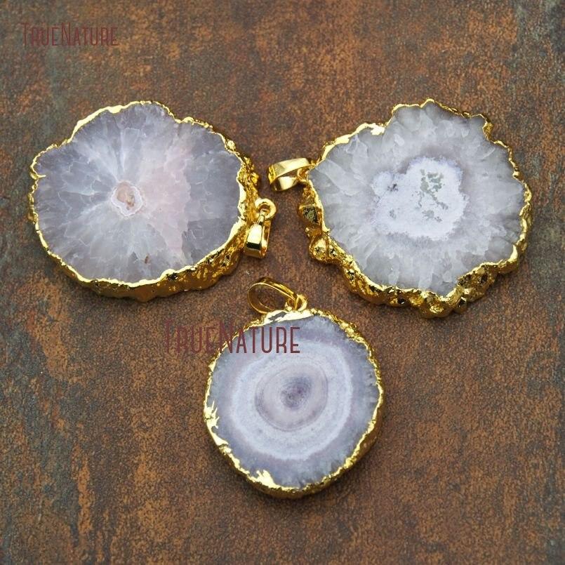 Ouro Galvanizados Pingentes de Pedra Natural Semi Forma Redonda Serra Pontos Petite Estalactite Pingente Aproximadamente 45mm PM9264