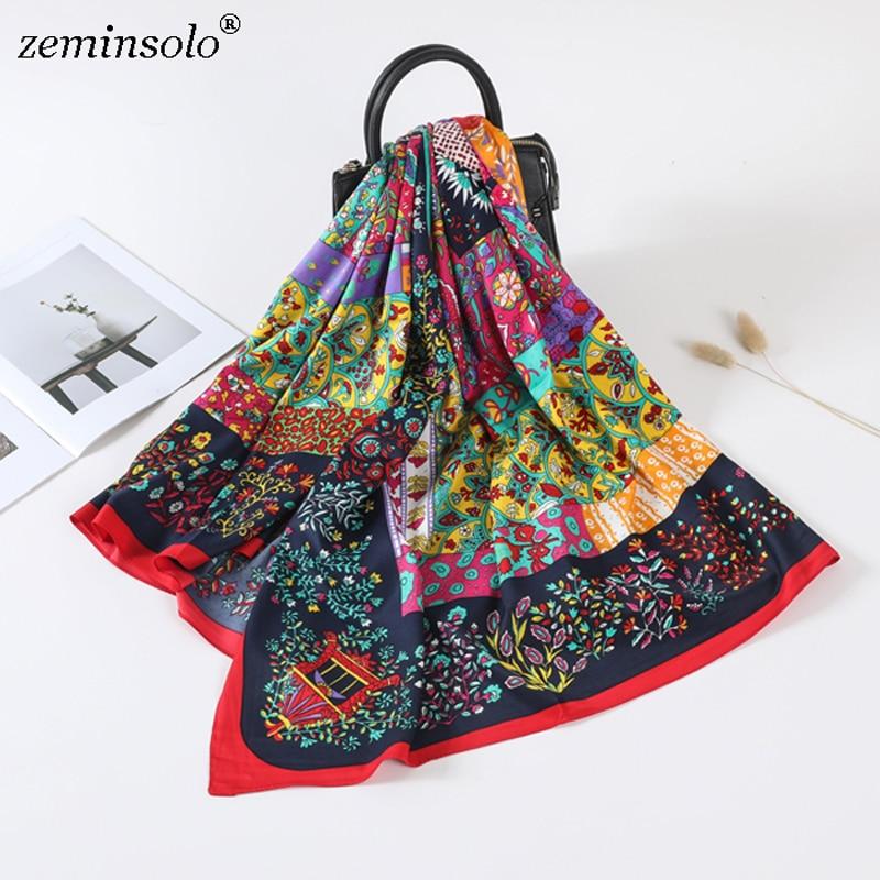 Luxury Brand 100% Twill Silk Scarf Square Bandana New Design Floral Print Kerchief Women Scarves Shawls Wraps Echarpe