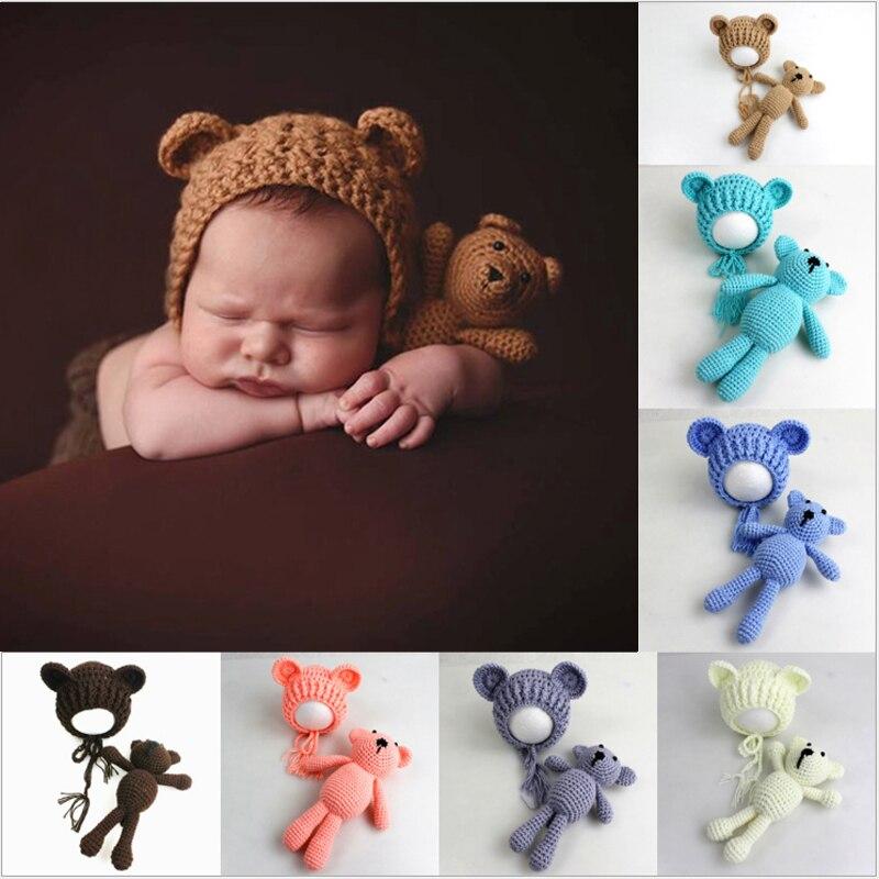 2020 lindo sombrero de punto colorido para bebé + Oso de juguete para bebé recién nacido Niño Pequeño Oso foto Prop fotografía gorra tejida para bebé conjunto