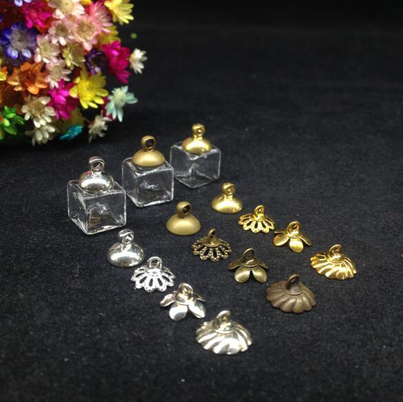 50pcs 10mm square Glass Bubble globe dome with cap set necklace jewelry finidings supplies handmade glass vial pendant diy decor