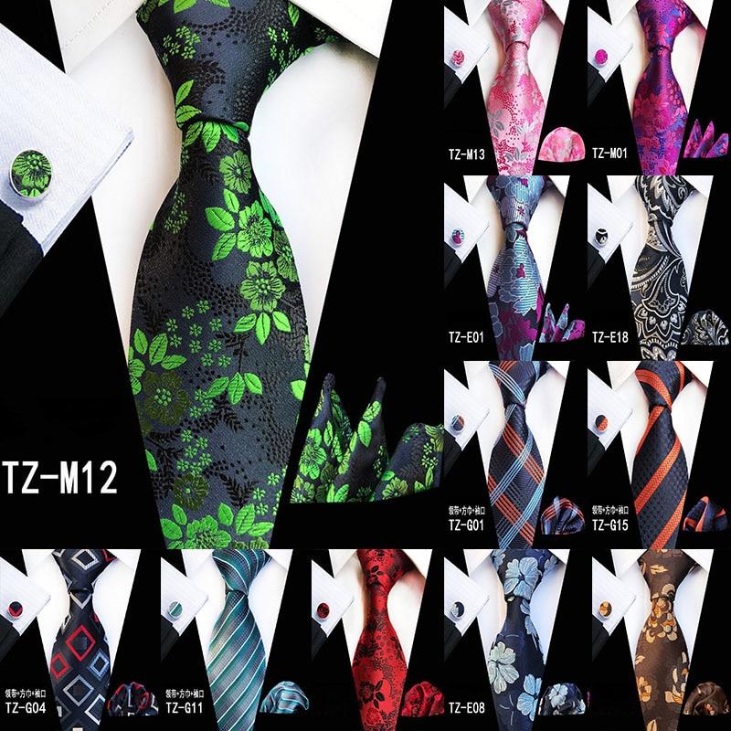 New Hot 20 Style Big Flower Floral Ties for Men Fashion Mens Tie Stropdas Pocket Square Hanky Cufflinks Three Three-piece Suit