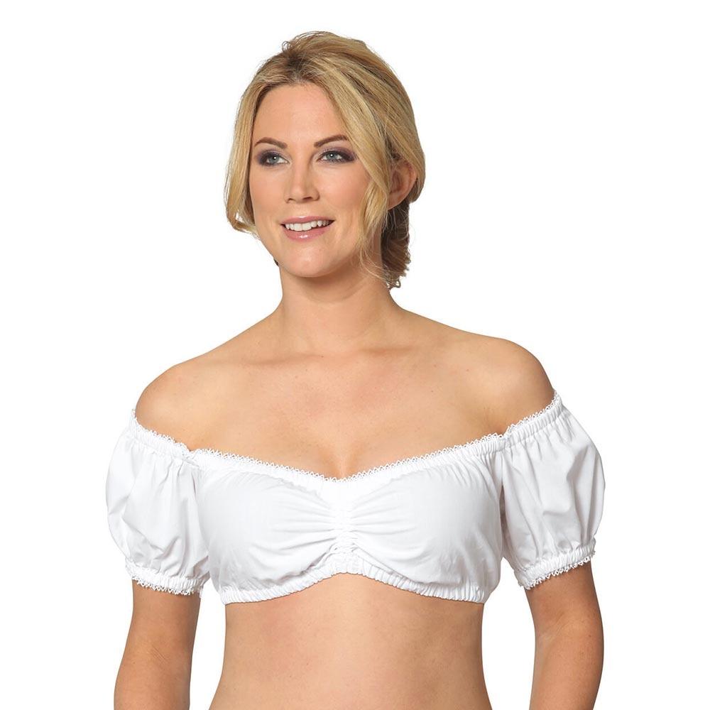 Womens Dirndl Blouse Bavarian Oktoberfest Costume German Traditional White Blouse Shirt Beer Festival Tube Cropped Top