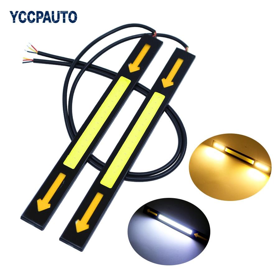 YCCPAUTO 2 шт. двойной цвет 17 см COB светодиодный светильник дневного света и сигнальная лампа поворота водонепроницаемый автомобильный DRL для во...