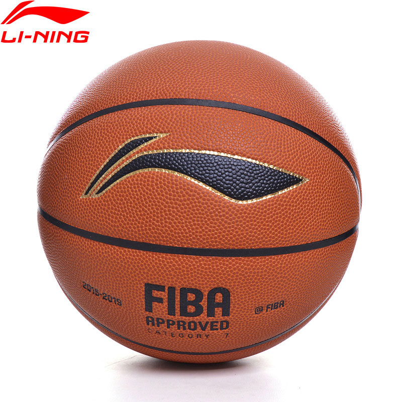 Juego de baloncesto li-ning FIBA, Tamaño 7, Material de PU profesional, inflable para exteriores, forro de Li Ning, pelotas deportivas ABQP002 ZYF341