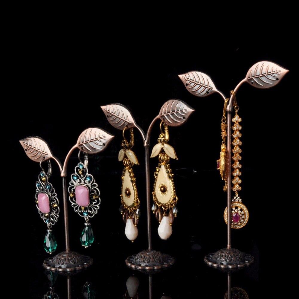 JAVRICK  2018 New 3 Pcs Alloy Earrings Display Leaf Shape Stand Showcase Earrings Display Stand Jewelry Organizer Holder Gift
