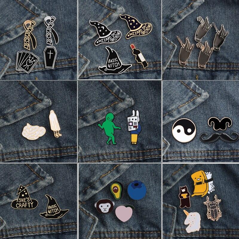 2 ~ 4 pièces/ensemble broche Collection émail noir foncé broche Badge noeud papillon barbe chapeau animaux épinglettes manteau sac à dos bijoux accessoires