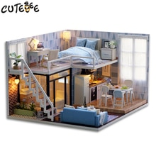 Bricolage casa muñecas de madera casas de muñecas miniatura casa de muñecas muebles Kit avec LED juguetes para niños navidad L023