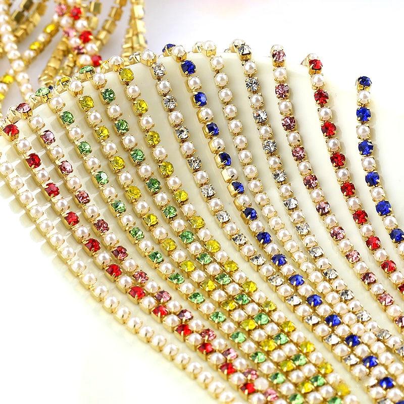 1 yard Kristall Glas SS6 / 2mm Goldene Basis Strass Tasse Kette Nähe Ketten стразы Perle Strass Kette nähen auf Bekleidungs B3729