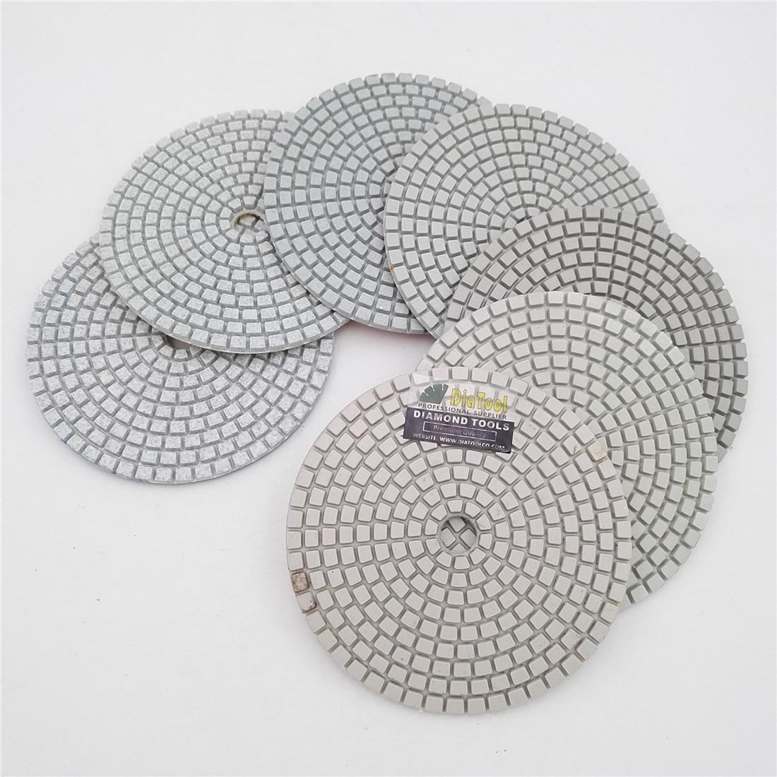"SHDIATOOL 7pcs/set 4"" Professional White Diamond Wet or Dry Polishing Pads Diameter 100mm Resin Bond Sanding Discs"