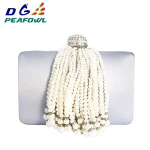 New Pearl Tassel Female Beaded Bags Ladies Gold Wedding Purses With Pearl Chain Girls Party Bag Evening Clutches