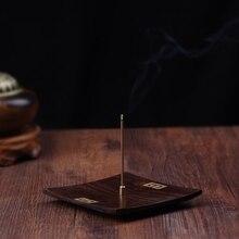 PINNY-encensoir bâton carré   Ébène, brûleur dencens en bois brut, porte-encens en bois de santal découpé, Base dencens bouddhiste religieux