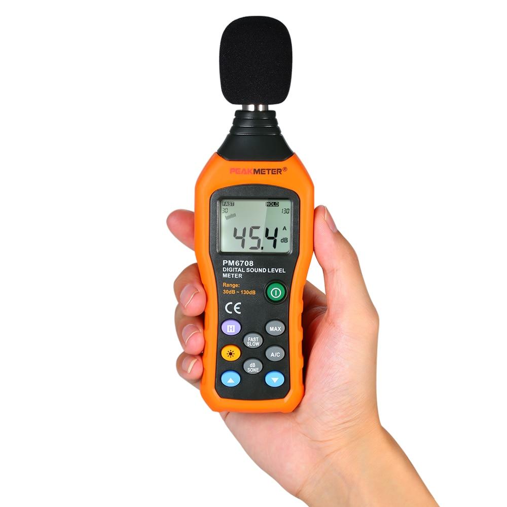 30-130dB Sound Level Meter PM6708 LCD Digital Audio Dezibel Sound Noise Level Meter Tester Dezibel Tester