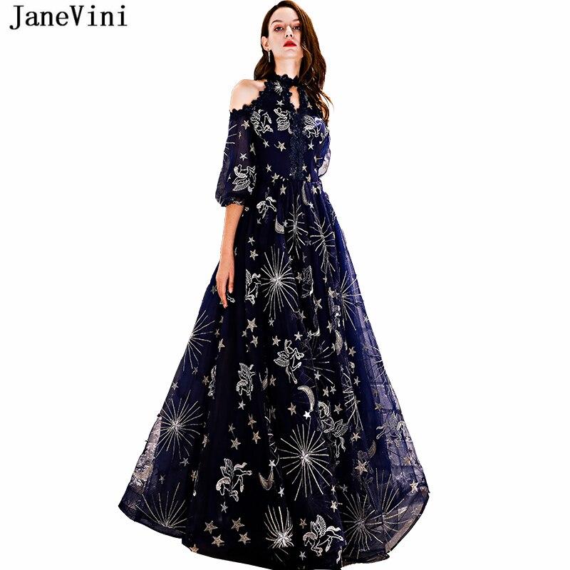JaneVini-Vestidos largos de encaje azul marino para dama de honor, vestidos largos...