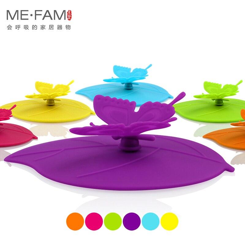 ME. FAM 1 pieza Linda moda 3D mariposa hojas silicona tapa de la taza 10,5 cm sello a prueba de polvo cubierta para vidrio cerámica taza de plástico