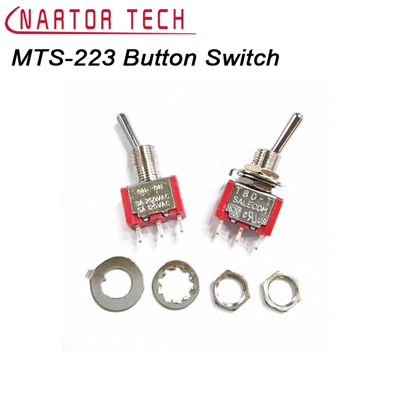 10Pcs MTS-223 Red 6 Pin 3 Position Momentary ON-OFF-ON Automatic Return Toggle Button Switch