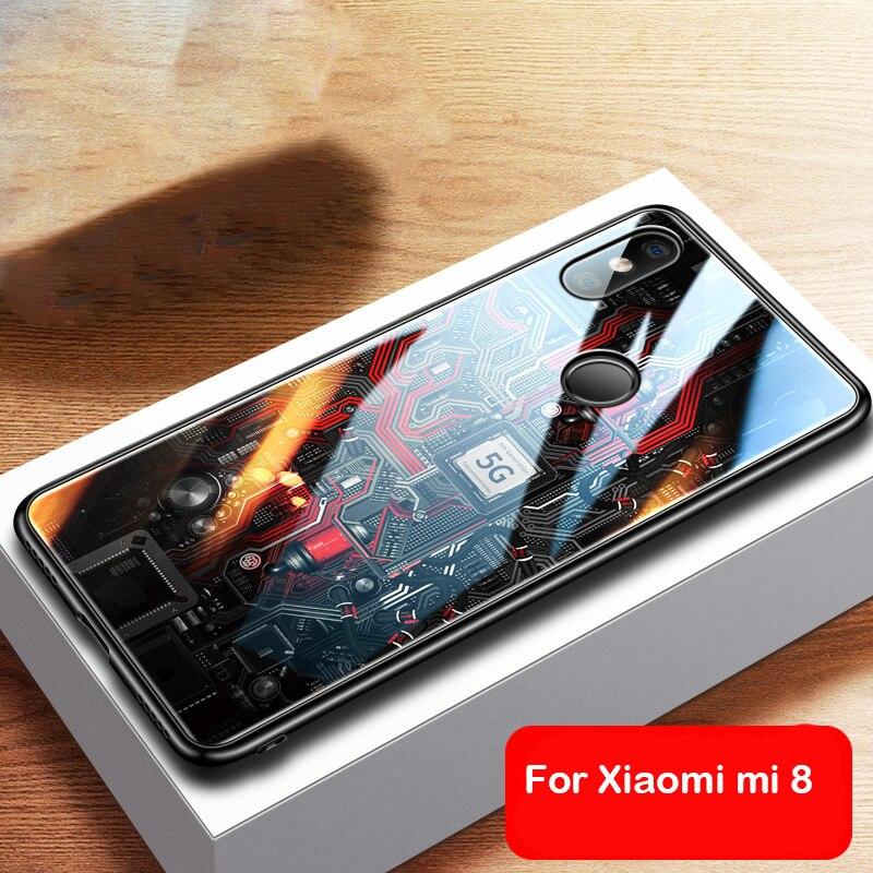 Funda de vidrio templado de lujo para Xiaomi mi 8 lite TPU funda de vidrio de borde suave para Xiaomi mi 8 mi 8 lite xiaomi caso Aixuan
