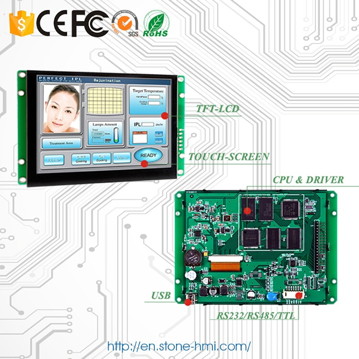 10.1 inch Serial LCD Panel with Controller Board + Program for Industiral Use