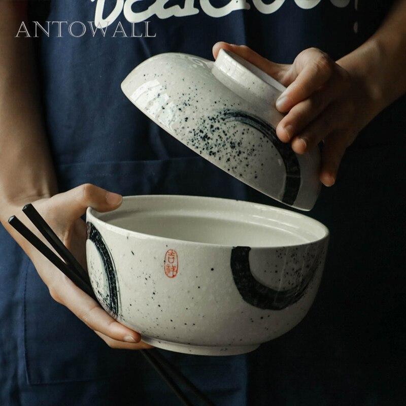 ANTOWALL السيراميك 6.5 بوصة عاء المنزل الفورية طبق للنودلز الصينية نمط أدوات المائدة الحساء رامين عاء الخزف
