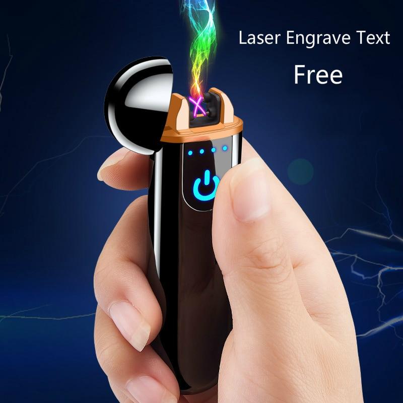DIY Laser Engrave Text Touch Sensing Dual Arc Plasma Lighter USB Charging Cigarette Lighter Rechargeable Lighter Men Gift sigara