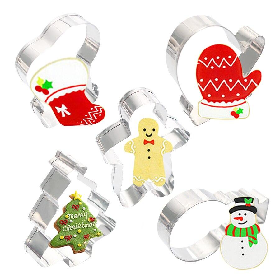5 MODELO DE ACERO INOXIDABLE Navidad galleta molde calcetines guantes hombre de jengibre muñeco de nieve cortadores de galletas herramientas