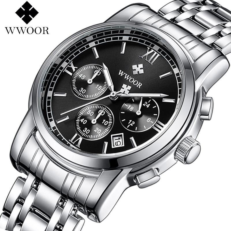 WWOOR Top Merk Luxe Mannen Horloge Business Chronograaf Waterdicht Rvs Sport Mannen Quartz Horloge Mannen Leisure Klok