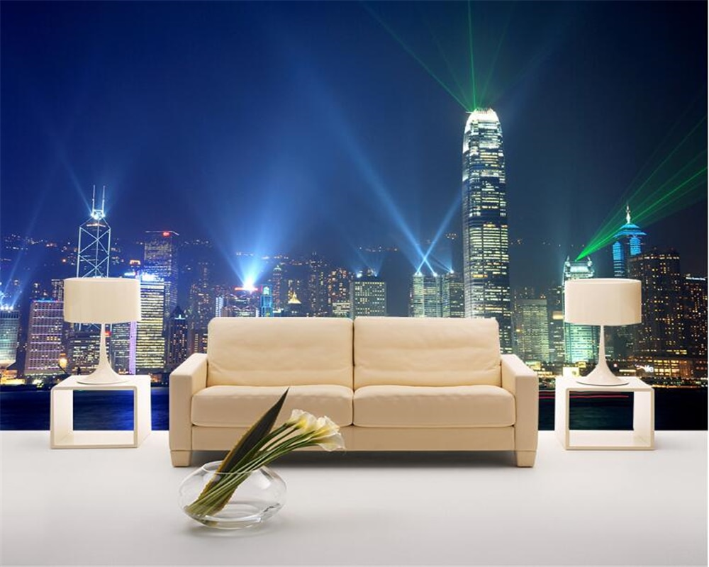 beibehang 2018 New papel de parede wallpaper Fashion Custom Classic City Night Skyscraper Building Landscape Background tapety beibehang new papel de parede 3d wallpaper chinese style simple wallpaper relief dream watercolor lotus lotus background tapety