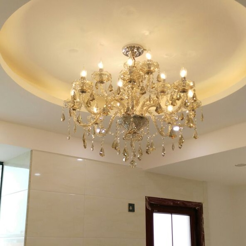 Araña de cristal de techo led vela Europea candelabros de cristal de techo lámparas de hierro forjado lámparas de alta calidad Luminaria Vitral iluminación del dormitorio artefactos de iluminación lámpara de araña
