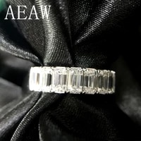 solid 14k 585 white gold emerald baguette 2ctw f color engagement band ring wedding moissanite half eternity band for women