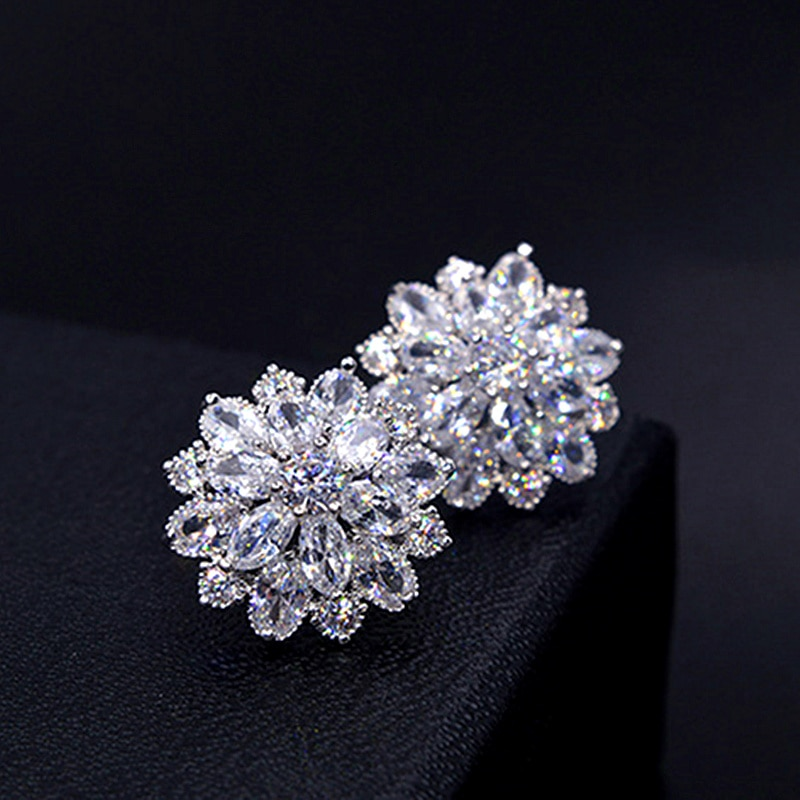 2020 design jóias de casamento luxo claro aaa zircão austríaco brincos elegante flor brincos para presentes personalidade feminina