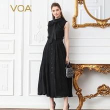 VOA Silk Knit Lace Dress Plus Size 5XL Women Black Sleeveless Bow Ribbon High Waist Slim Swing Dresses Vintage Retro Jupe A307