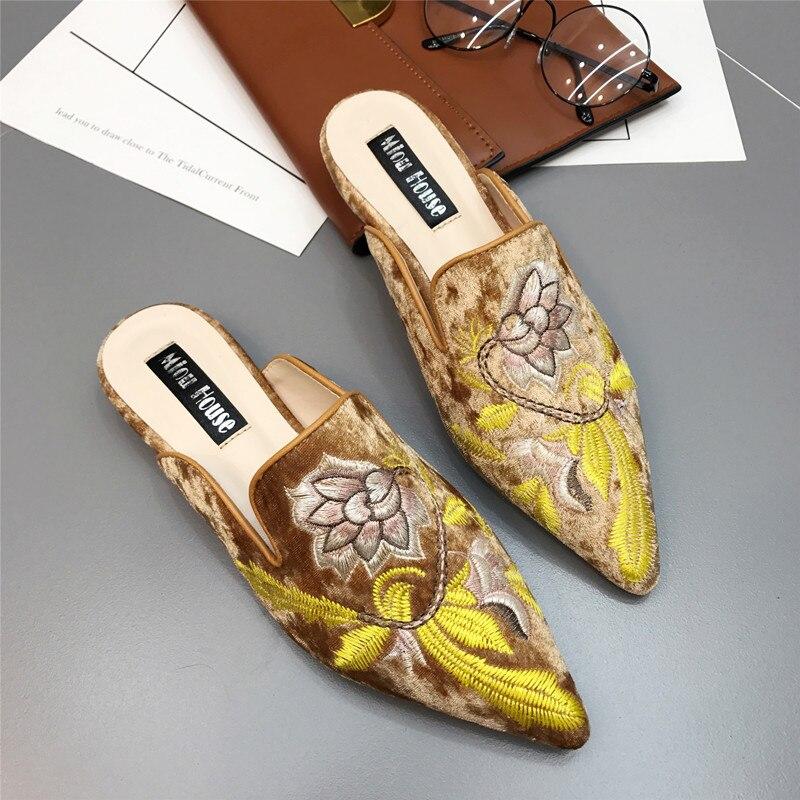 Pantuflas de piel bordadas de moda para mujer, pantuflas de terciopelo bordadas en 3d, zapatos planos para mujer, decoración de flores Kendall