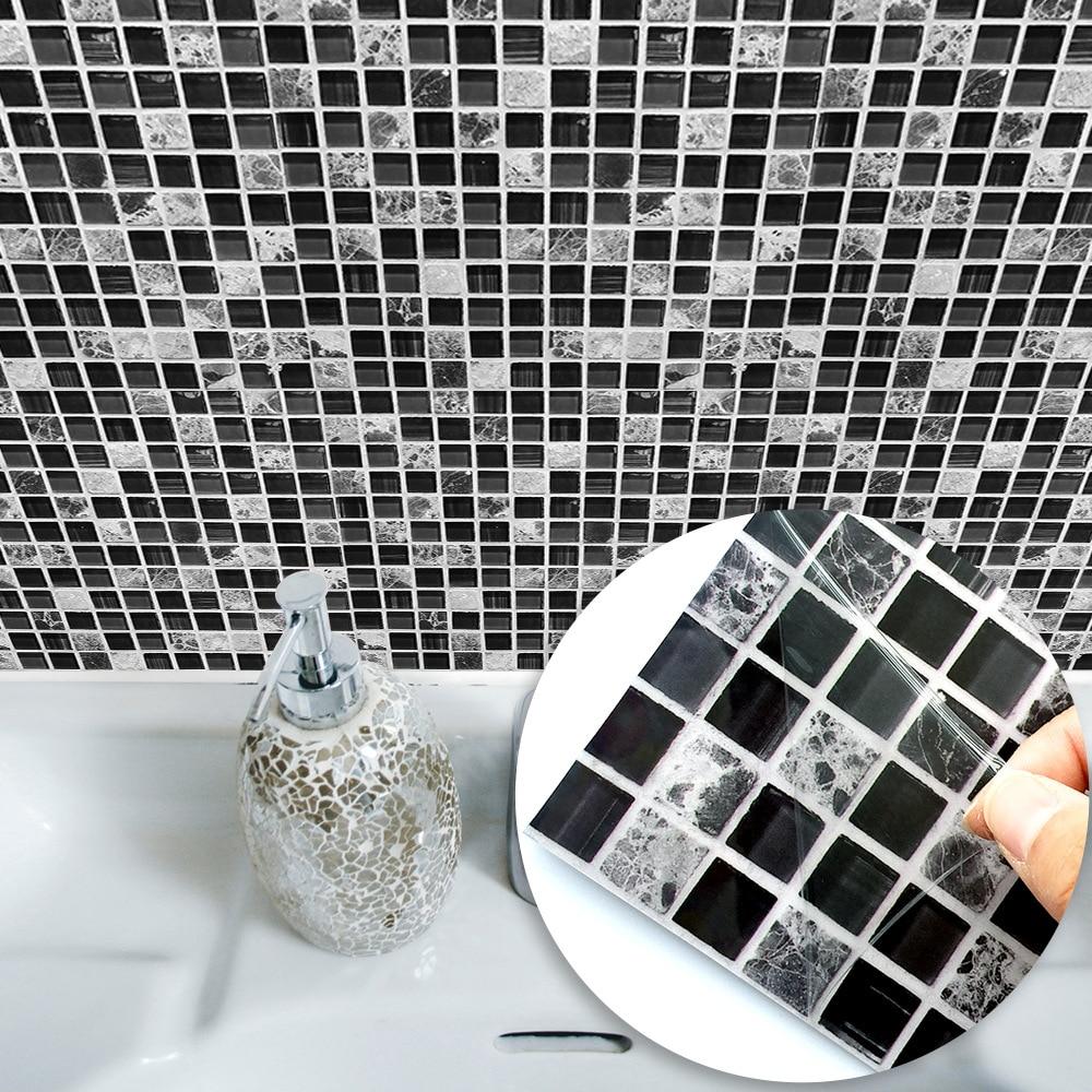 2019 Funlife Self Adhesive Mosaic Tile Sticker,Kitchen Backsplash Bathroom Tile Stickers Decor Waterproof Peel&Stick PVC Tiles