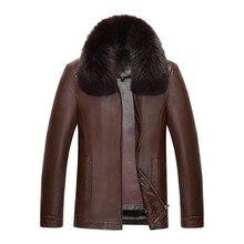 813 nouvelle mode hiver vêtements hommes veste en cuir hommes vison fourrure manteaux hiver lapin fourrure doublure hommes longue veste manteau