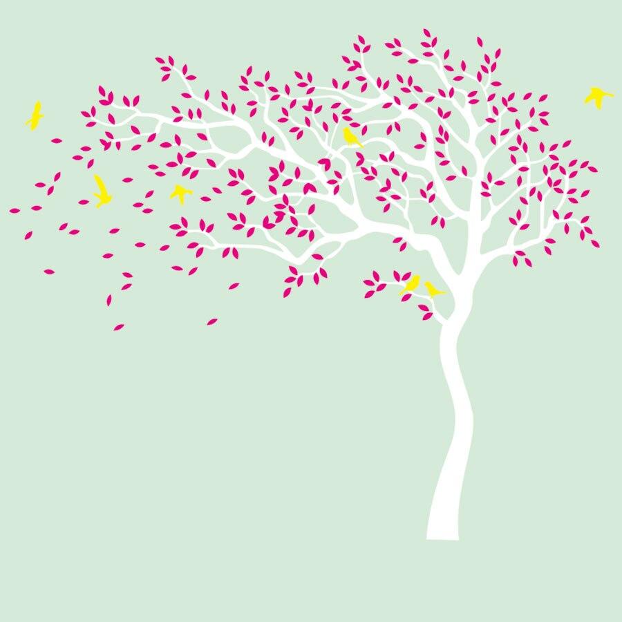 Birch Floresta Aves Árvore Enorme adesivo de Parede Simples Design Branco adesivos de Papel de parede para Quarto de Crianças Quarto Sofá Fundo Home um
