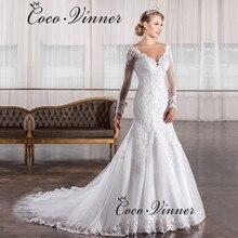 Vestido De Noiva 2020 Vintage Spitze Meerjungfrau Hochzeit Kleid Lange Hülse Appliques perlen China Kleider Vestido de Casamento W0034