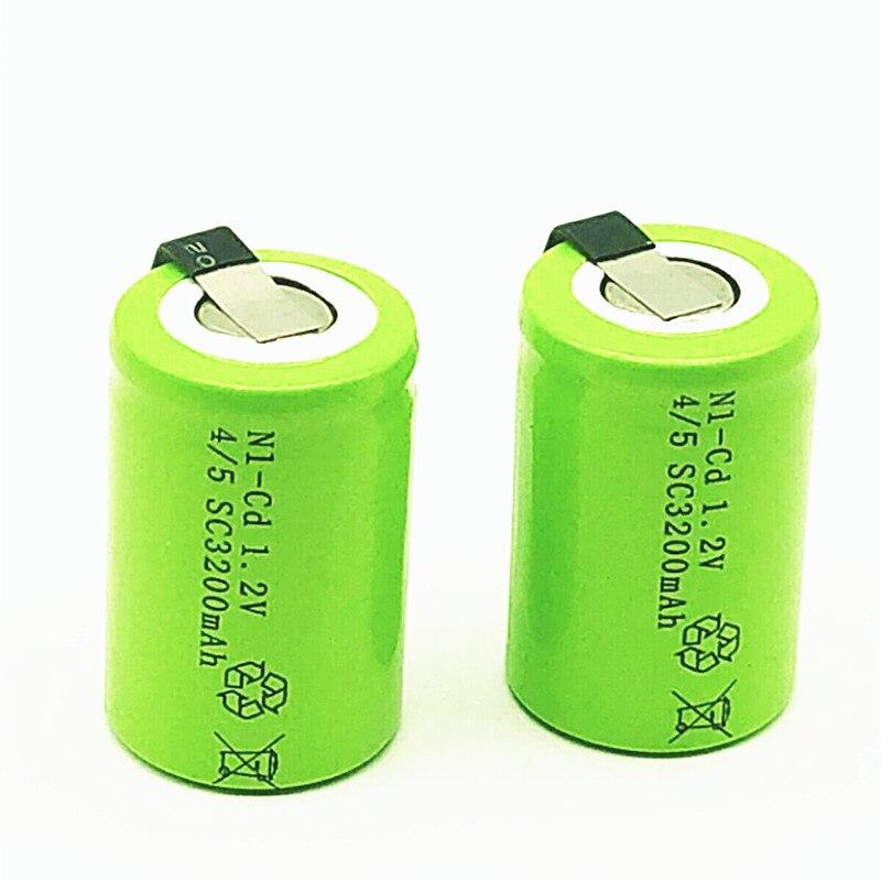 16 piezas/4/5SC 1,2 V recargable de 3200mAh de la batería 4/5 SC C Ni-CD celda con lengüetas de soldadura para destornillador de taladro eléctrico