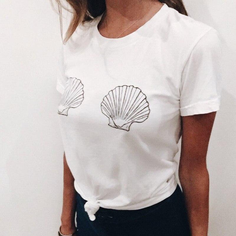 Sirena mar Concha sujetador imprimir camiseta mujeres estética Boob gráfico divertido camiseta Casual verano Tumblr Vacay Beach camiseta
