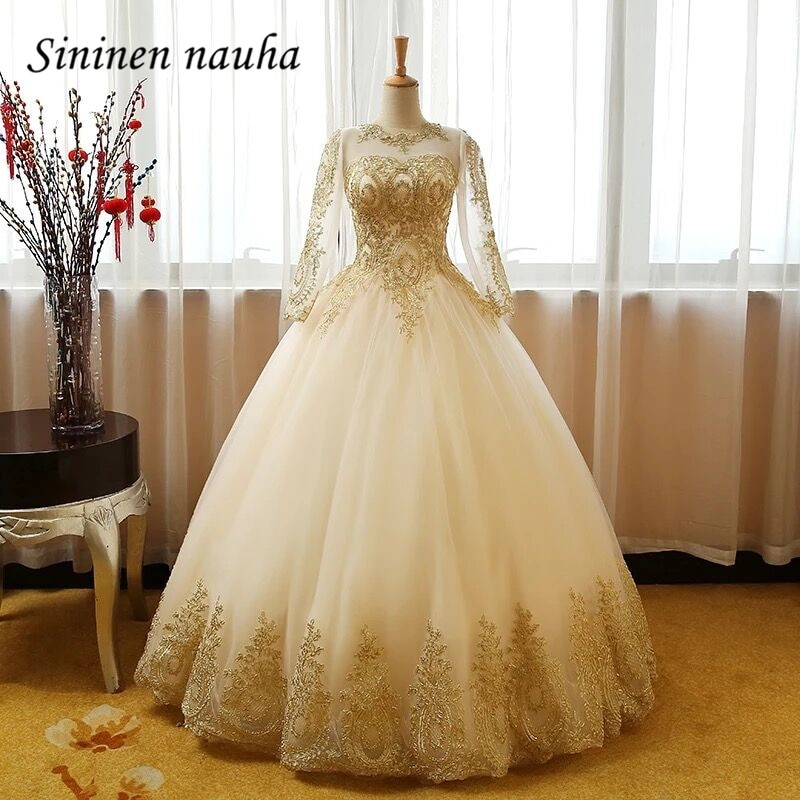 Champagne Quinceanera Dresses Prom Party Dress Appliques Long Sleeves Dance Ball Gown Vestidos De 15 Anos Sweet 16 Dresses 241