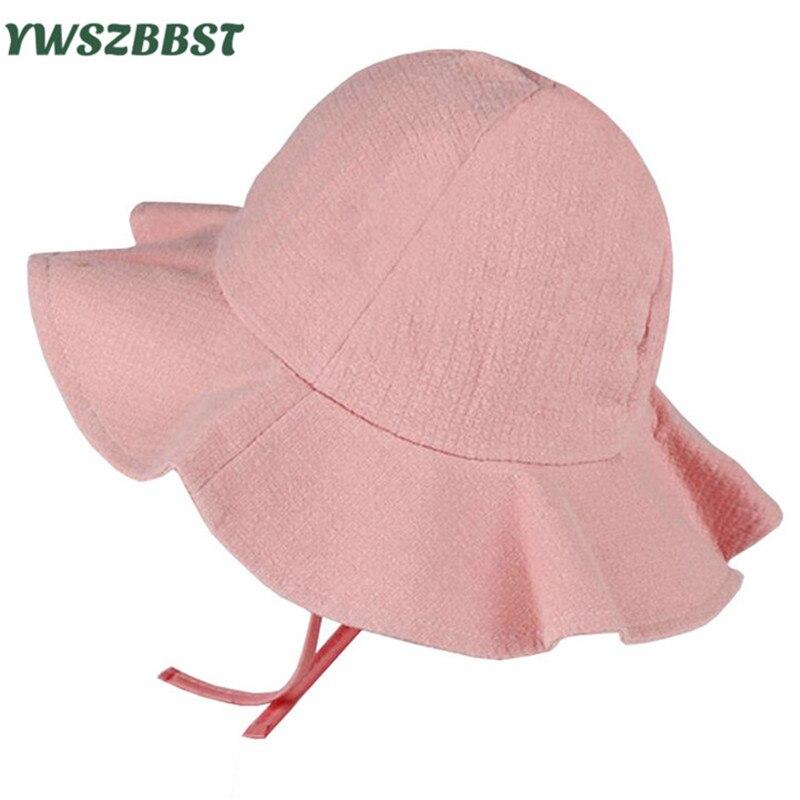 Summer Girls Sun Hat Cotton Baby Hat Kids Child Sun Cap Infant Baby Bucket Hats Toddler Boys Girls Brim Sunscreen Beach Cap