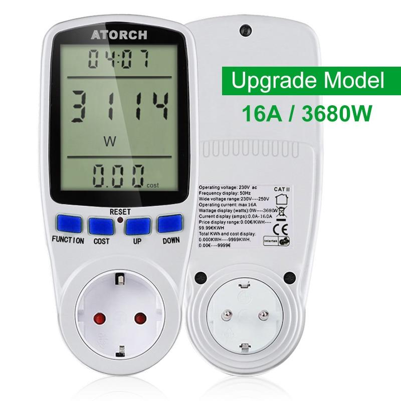 Atorch 220v ac medidor de energia digital wattmeter energia ue watt calculadora monitor consumo energia elétrica medição soquete analisador