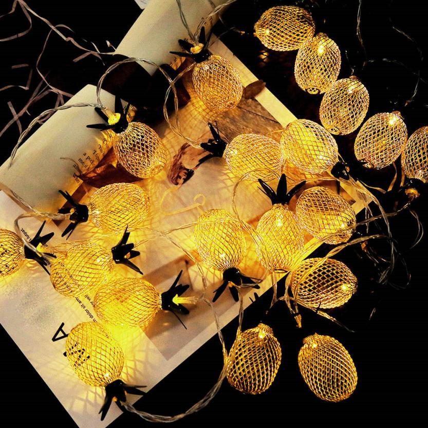 Decoração de abacaxi luz cortina abacaxi luzes corda casa festa decoração impressionante com 20 contas led dropshipping 18jul10