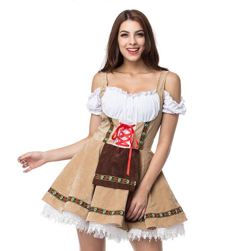 Oktoberfest Europa cerveza Carnaval Festival octubre Dirndl falda vestido delantal vestido con blusa bordado traje de alta calidad