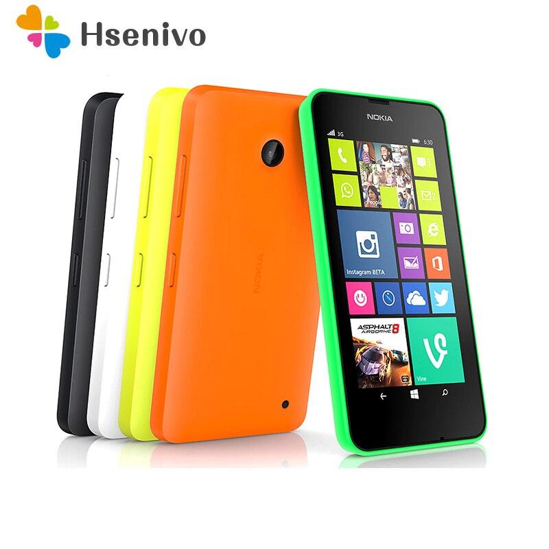 Nokia Lumia 630 Восстановленный-одна/две Sim-карты Lumia 630 Windows phone 8,1 Snapdragon 400 четырехъядерный 4,5 дюйм экран 3G сотовый телефон