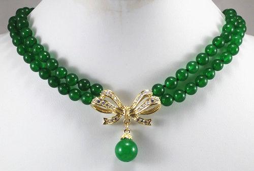 "Beautiful White Pink Black Pearl Green Purple jade Wedding Necklace Pendant 20"""