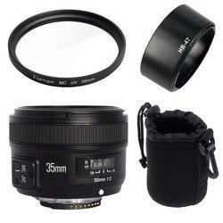 Объектив Yongnuo YN35mm F2N с широкоугольной большой диафрагмой с фиксированным автофокусом + УФ-фильтр 58 мм + сумка для объектива + бленда для Nikon D7100 D3200
