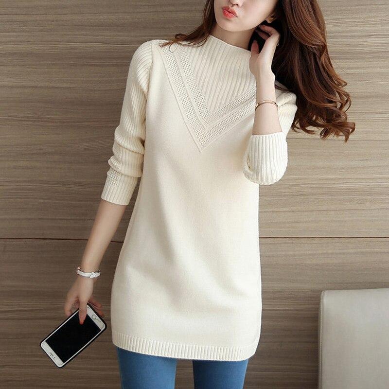 Suéter mujeres Knitte Rosa Blanco coreano otoño medio invierno Robe Pull suelta larga gruesa cabeza de abrigo mujer estudiante cómodo