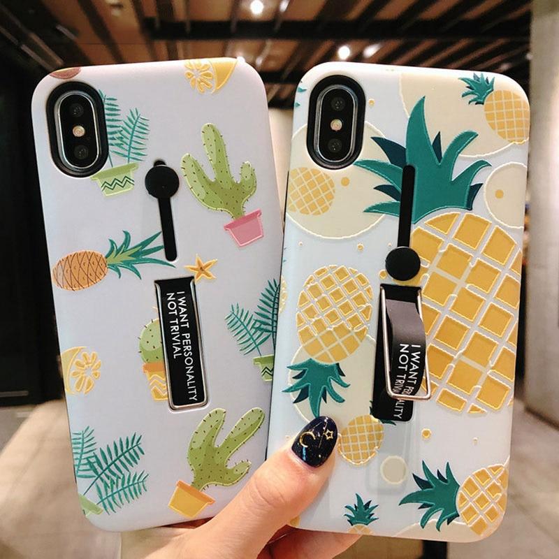 Esconder anel suporte caso titular para iphone 7 8 6s plus folha de abacaxi mármore casos de telefone para iphone x xs pc capa traseira