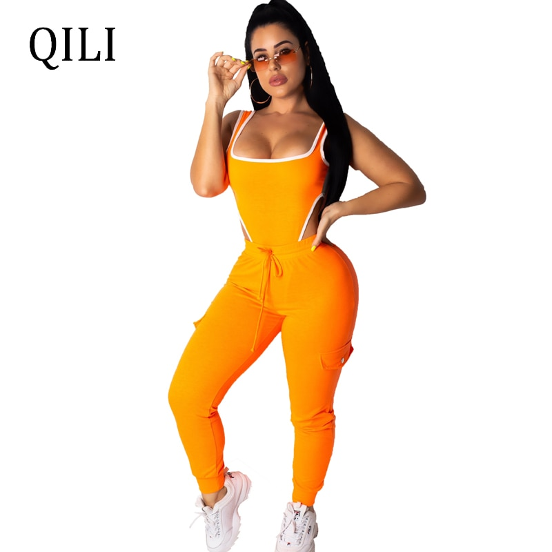 QILI conjunto de dos piezas para mujeres Bodysuits + Pantalones monos sexis sin mangas Bow DISEÑO DE BOLSILLOS trajes de estilo playero Neon-green Orange